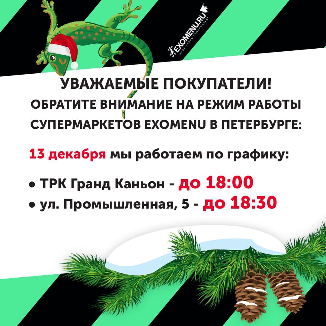 Режим работы 13 декабря.