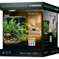 Dennerle NanoCube Complete+ SOIL 20 - Нано-аквариум,  расширенный комплект для установки с LED светильником и грунтом Scaper's Soil, 25х25х30 см, 20 л