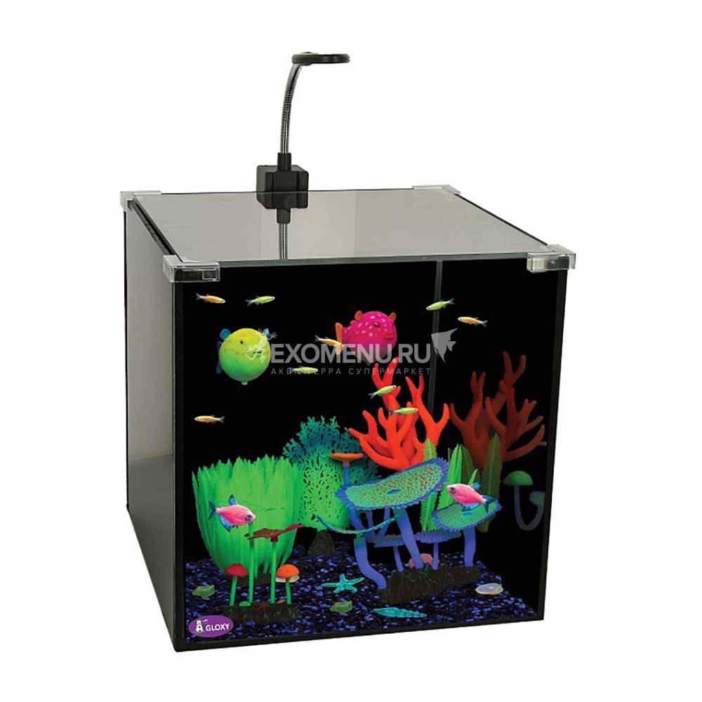 Аквариум GLOXY Glow Set-27, 30х30х30см, 27л, для светящихся рыб и декораций