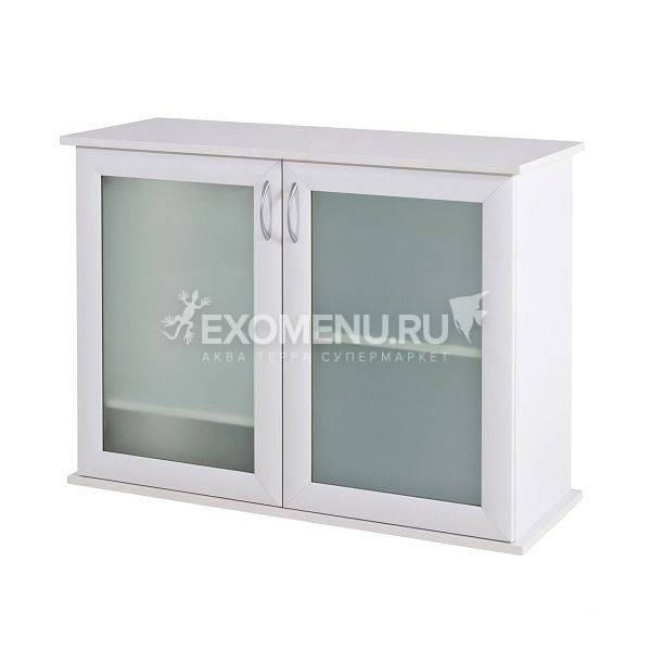 Подставка AquaPlus 90 (910*360*720) две дверки МДФ со стеклом, белое дерево, собранная