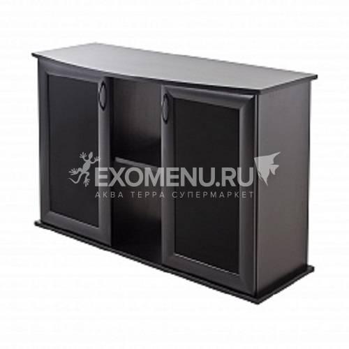 Подставка AquaPlus фигурная 120 (1210*410*720) две дверки МДФ со стеклом, черная, собранная