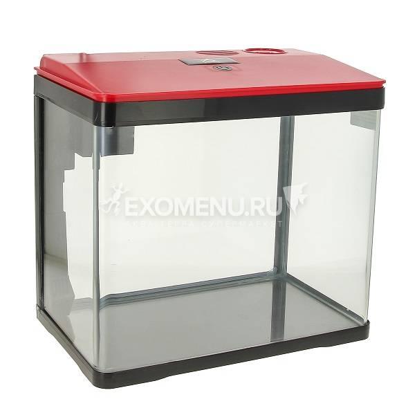 Аквариум PRIME, 15л,  красно-черный, с LED светильником, фильтром и кормушкой