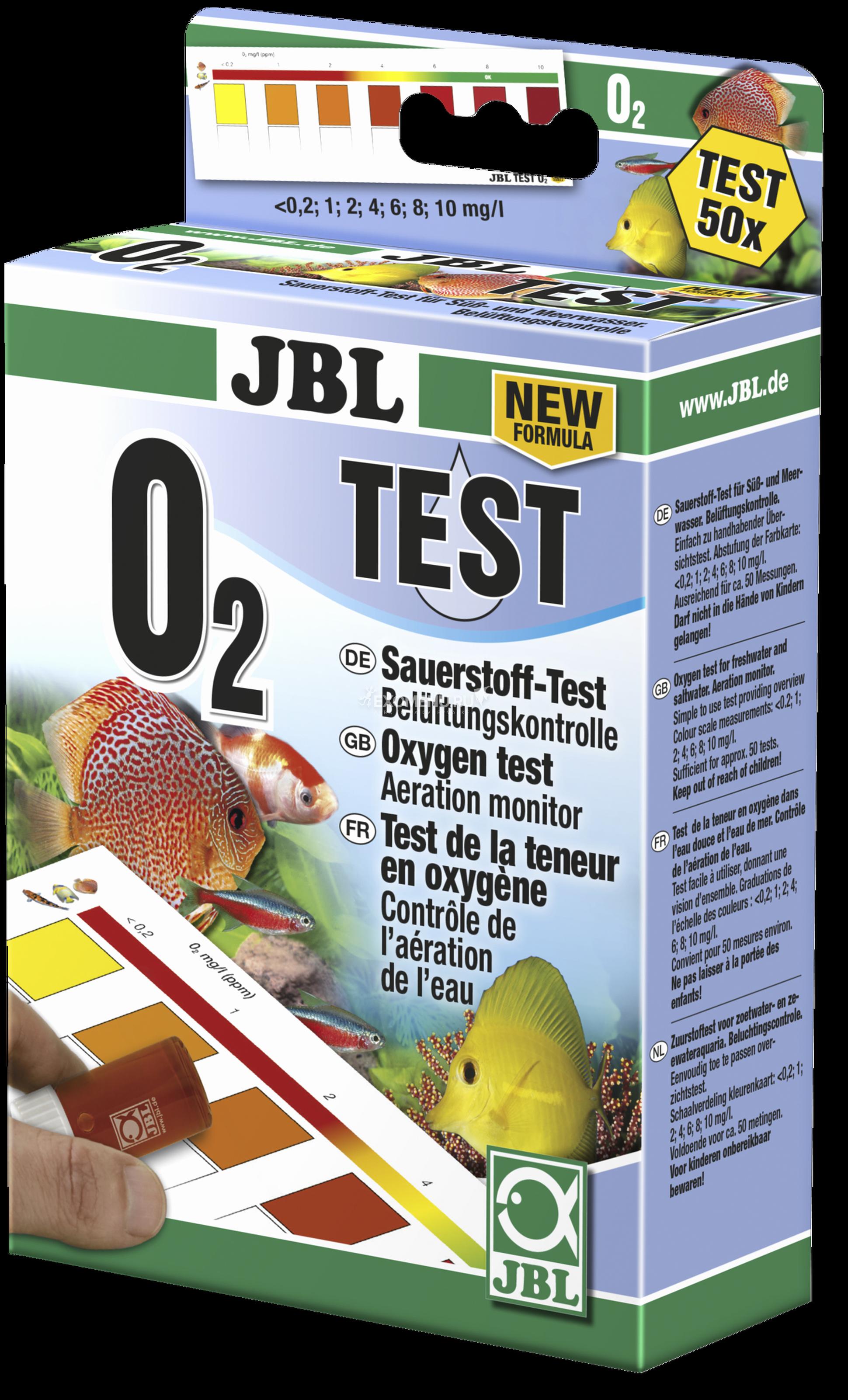 JBL O2 Oxygen Test Set New Formula - Экспресс-тест для определения содержания кислорода в пресноводных/морских аквариумах и прудах