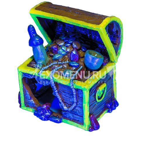 Декорация флуоресцентная Tetra Glofish Сундук с сокровищами малый_(1/6) фото