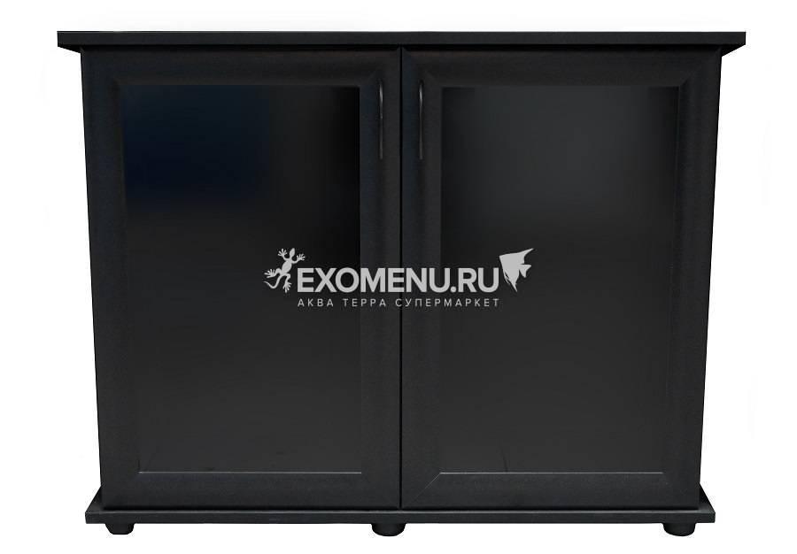 Подставка AquaPlus 90 (910*360*720) две дверки МДФ со стеклом, черная, собранная