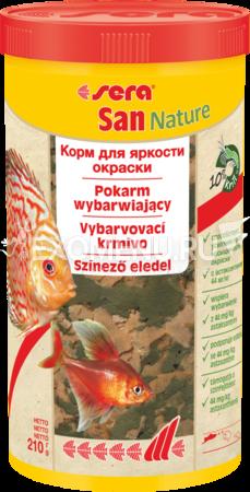 Сера Корм для рыб основной в хлопьях SAN NATURE 1000 мл 210 г (улучшает окраску).
