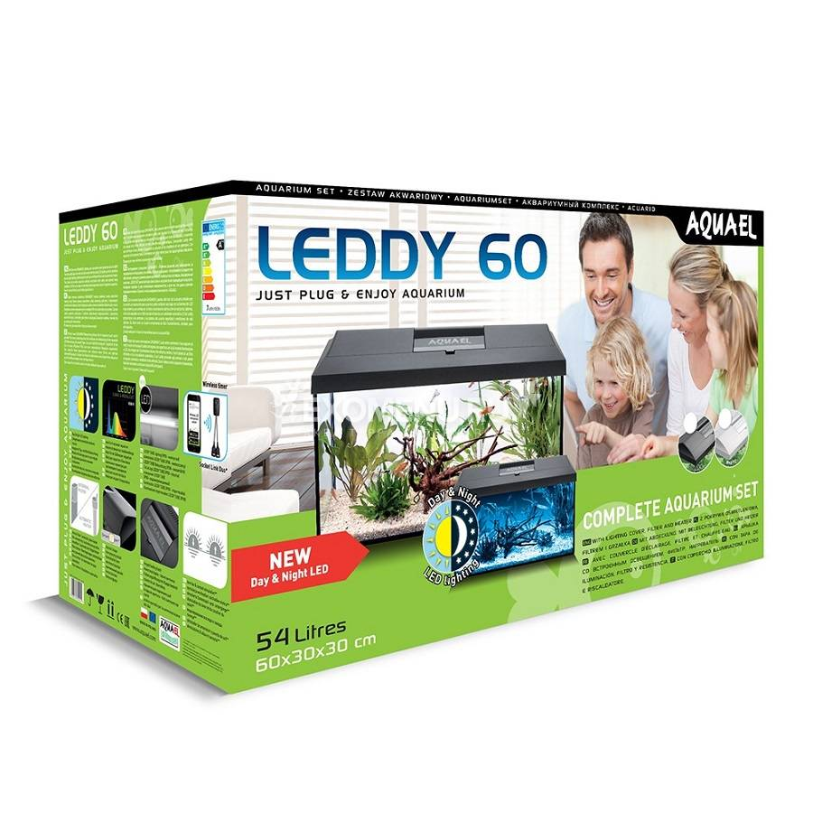 Аквариум AQUAEL LEDDY SET PLUS D&N 60 Черный (60 x 30 x 30 ) 54л, ASAP 300, PLATINIUM  50 W, LT 7W D&N