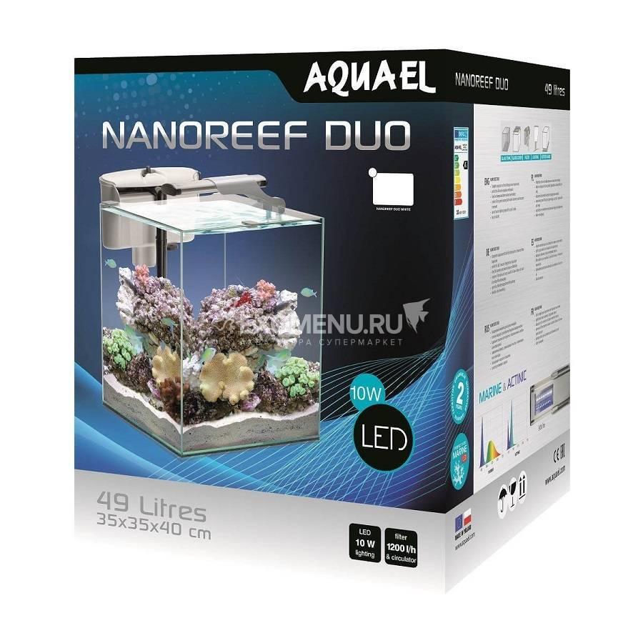 Aквариум AQUAEL NANO REEF DUO LED белый, 49 л., (35*35*40),  внешний фильтр VERSAMAX 3 белый, светильник LEDDY SLIM DUO MARINE & ACTINIC 10W белый