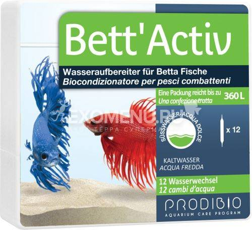 Prodibio Bett Aktiv, кондиционер водопроводной воды для бойцовых рыбок, 12 шт