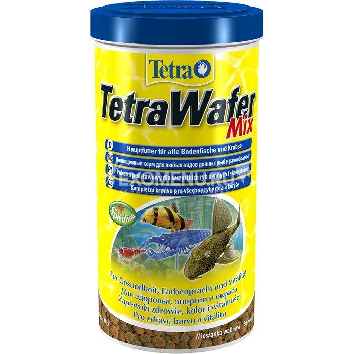 Корм основной с креветкой для плотоядных, травоядных  донных рыб TetraWaferMix таблетки 1000 мл