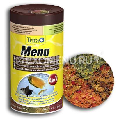 Корм из 4-х разных видов хлопьев для всех видов рыб Tetra Menu 250 ml