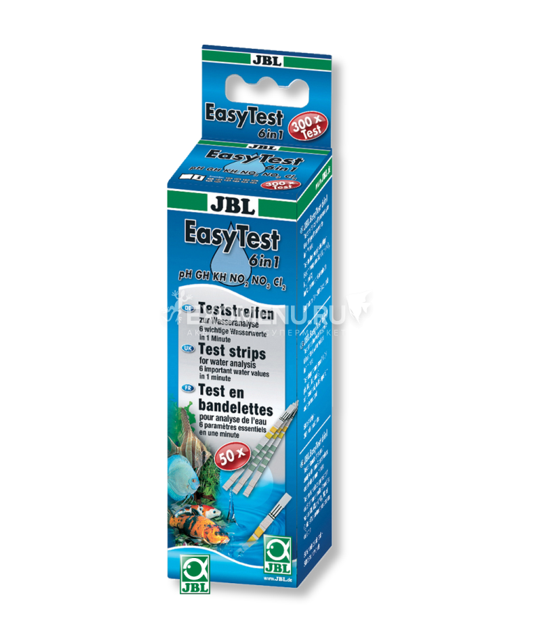 JBL EasyTest 6in1 - Полоски для экспресс-теста воды по 6-ти основным параметрам, 50 шт.