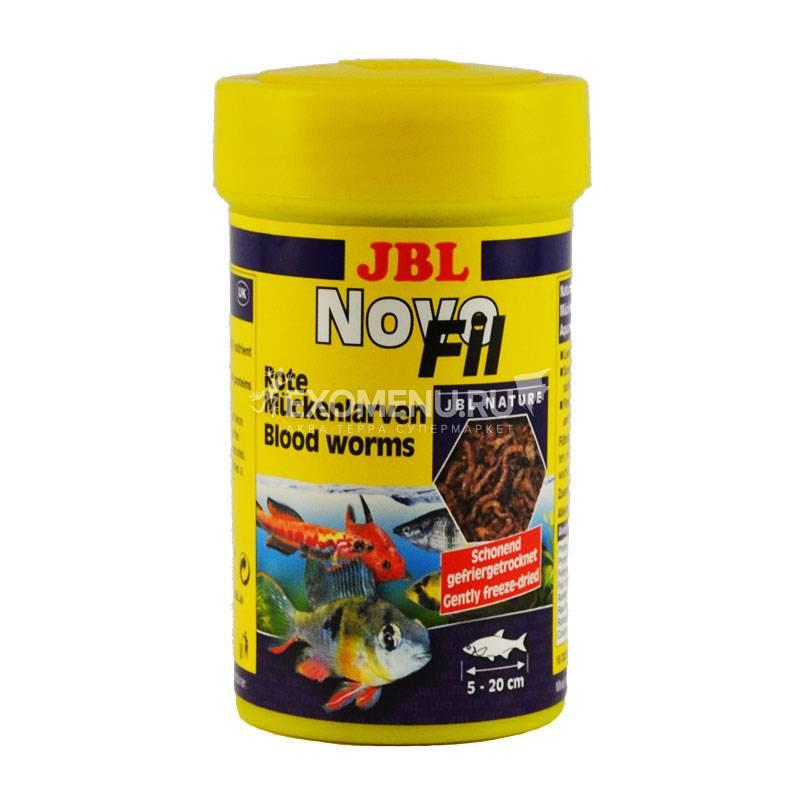 JBL NovoFil - Сушеный мотыль, дополнительный корм для привередливых пресноводных аквариумных рыб и черепах, 100 мл (8 г)