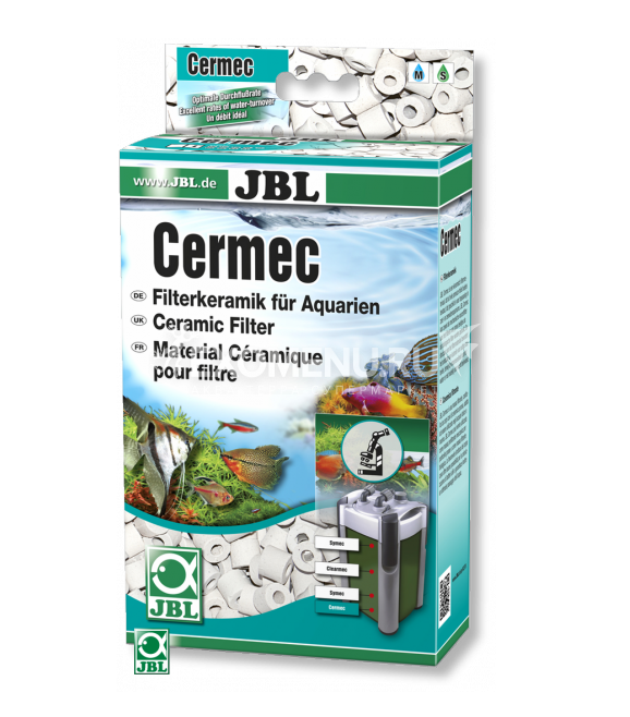 JBL Cermec - Наполнитель в форме керамических колец для аквариумных фильтров, 750 г, на 200 л