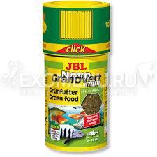 JBL NovoGranoVert mini CLICK - Основной корм в форме гранул для растительноядных пресноводных аквариумных рыб и креветок, в банке с дозатором, 100 мл (40 г)