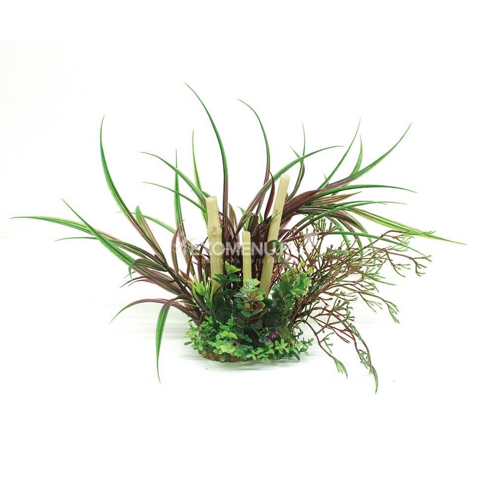ArtUniq Lagarosiphon madagascariensis Red & bamboo 20 - Композиция из искусственных растений с бамбуком Лагаросифон мадагаскарский красный, 20 см