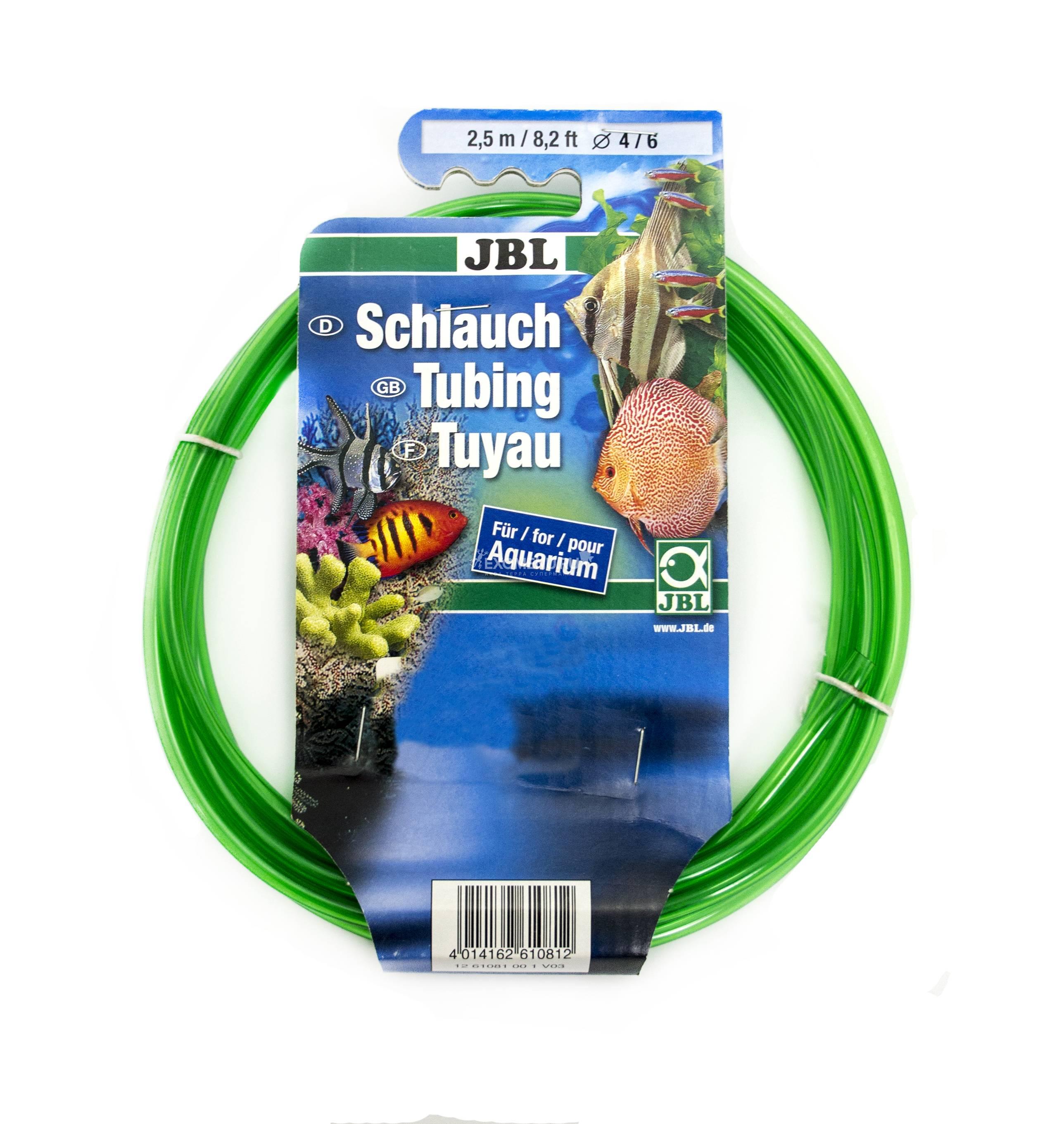 JBL Aquarium tubing GREEN 4/6 - Гибкий шланг для воды, прозрачный зеленый, 2,5 м, на подвесе