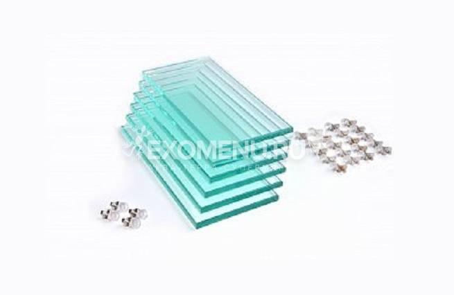 Комплект полированных стеклянных полок Т10мм с фурнитурой д/п ALTUM 200/CRYSTAL 210 (6шт) 156*319мм (шт.)