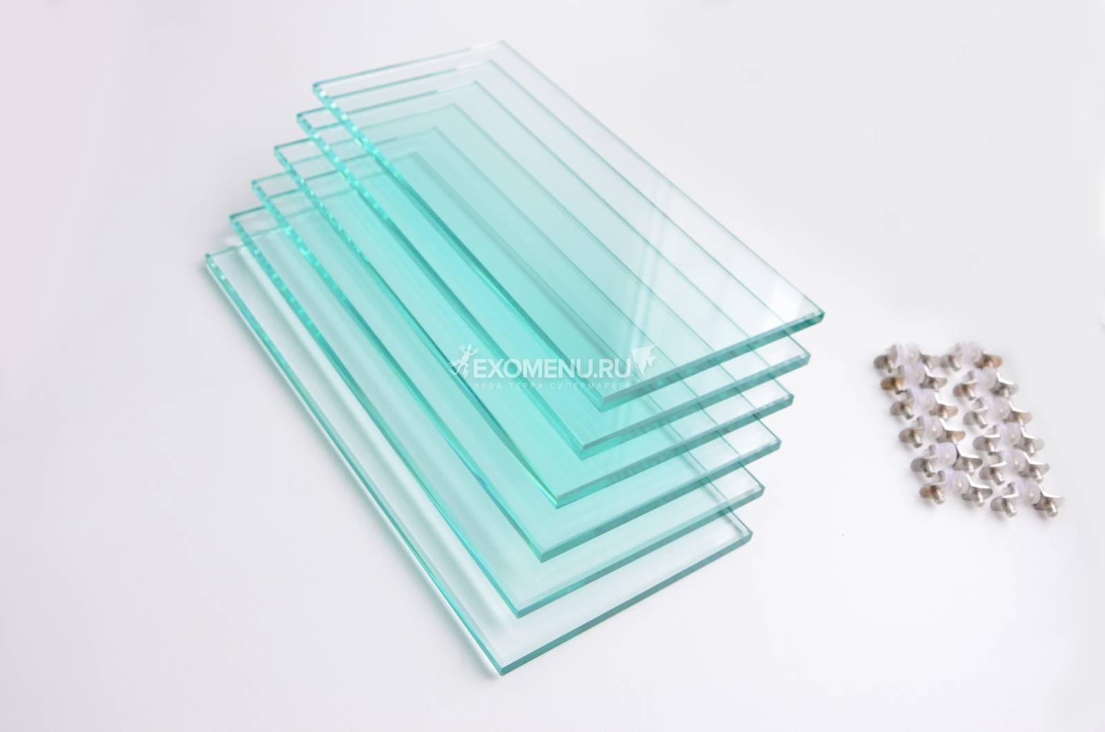 Комплект полированных стеклянных полок Т10мм с фурнитурой д/п ALTUM 135/CRYSTAL 145 (6шт) 116*289мм (шт.)