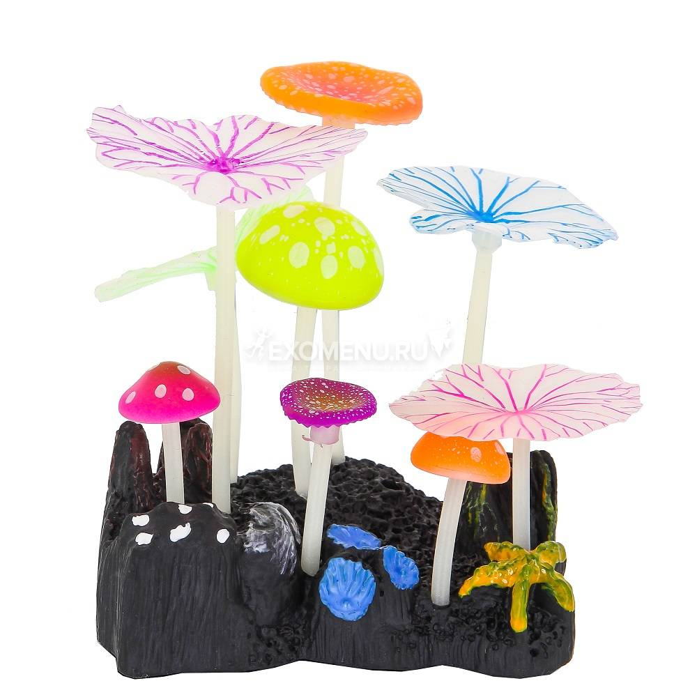 Флуорисцентная аквариумная декорация GLOXY 5 грибов и 4 листа Лотоса, 10х7,5х11см