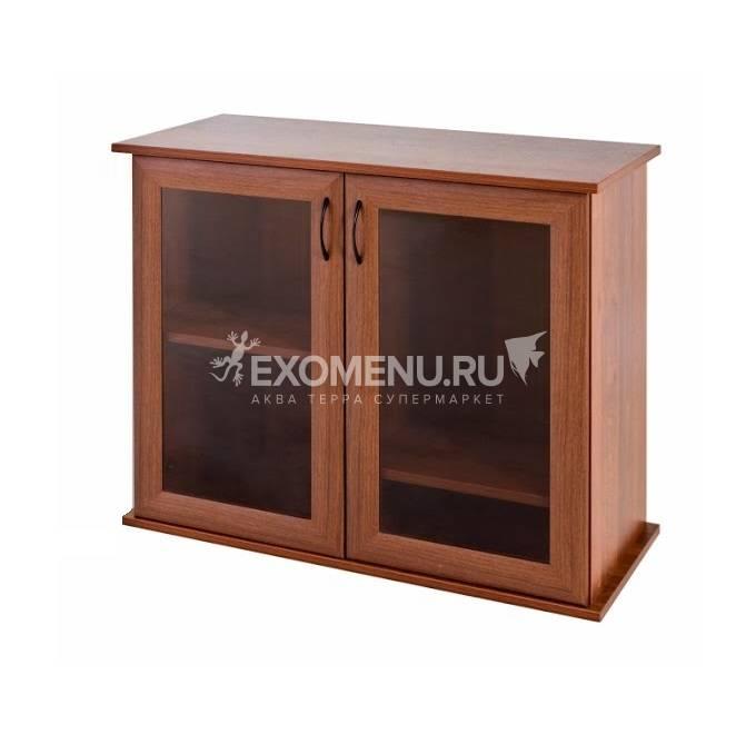 Пoдставка 80 (810*360*720) две дверки МДФ со стеклом, орех, в коробке, модель 2016