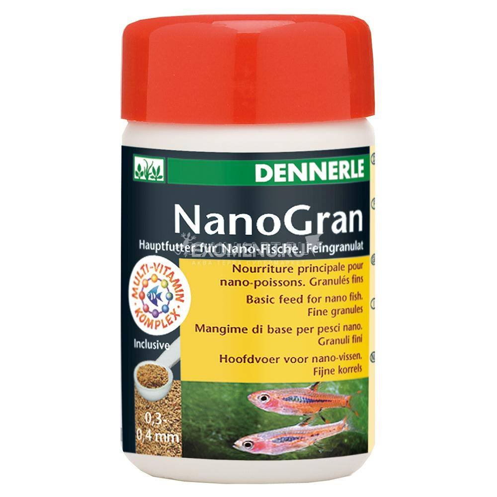 Корм Dennerle Nano Gran, в форме мини-гранул для небольших рыб