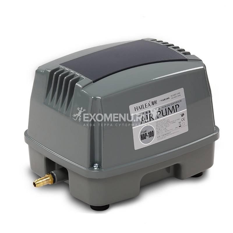 Компрессор Hailea HAP-100, 80 Вт, диафрагмовый, 100л/мин для рыбоводства, септиков и прудов