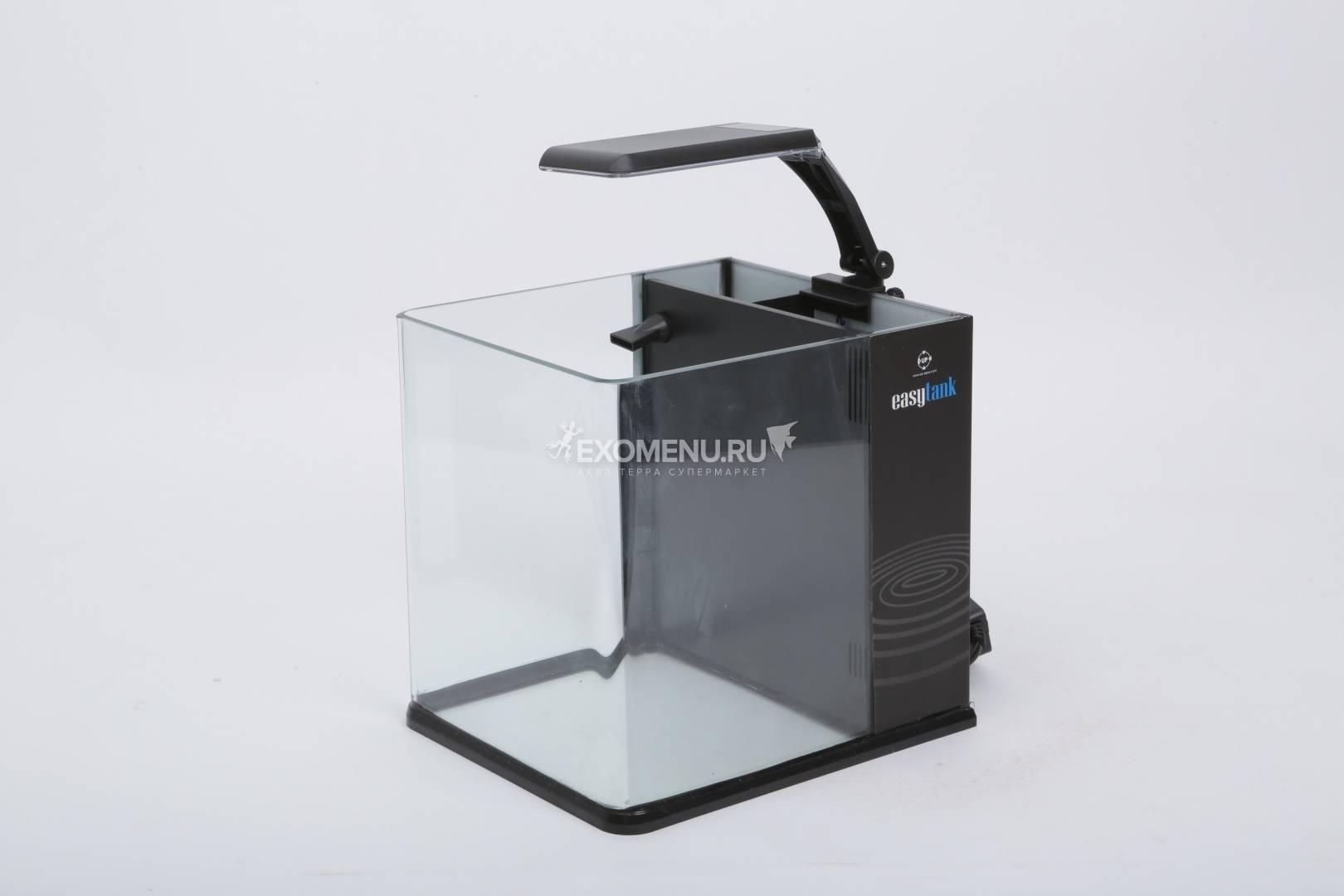 Аквариум UpAqua Easy Tank 20B, 10 литров со светильником, помпой и наполнителем, черный, 20х23х22 см