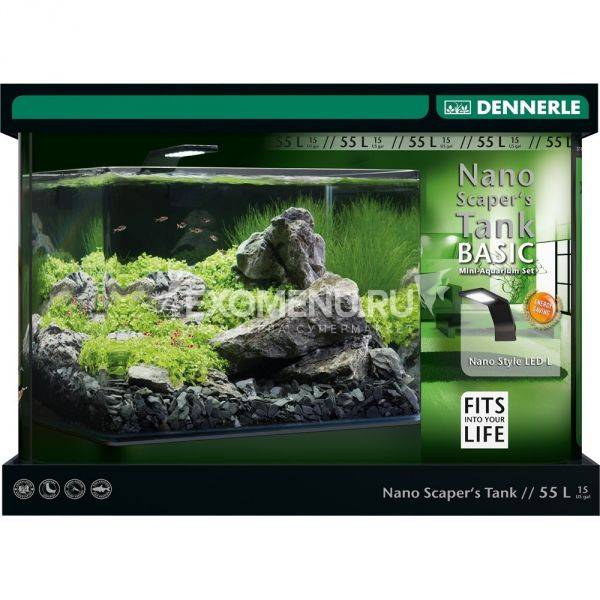 Dennerle Nano Scaper's Tank Basic 55 Style L - Панорамный нано-аквариум для акваскейпинга, базовый комплект с LED светильником Style L, 45х36х34 см, 55 л