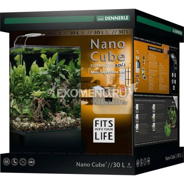 Dennerle NanoCube Complete+ SOIL 30 - Нано-аквариум,  расширенный комплект для установки с LED светильником и грунтом Scaper's Soil, 30х30х35 см, 30 л