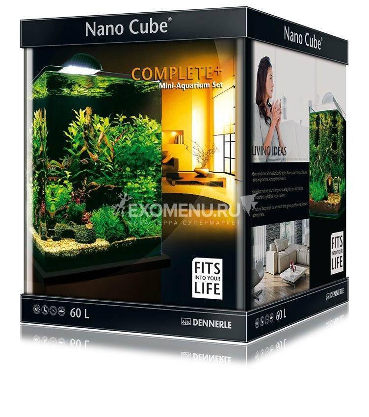 Dennerle NanoCube Complete+ 60 Style LED L - Нано-аквариум с расширенным комлектом для установки и светильником Nano Style LED L, 38x38x43 см, 60 л