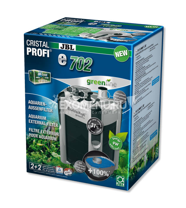 JBL CristalProfi e702 greenline - Внешний фильтр для аквариумов объемом 60-200 л (60-100 см) фото