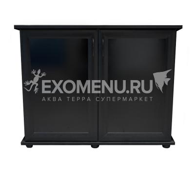 Подставка AquaPlus 90 (910*360*720) две дверки МДФ со стеклом, черная, в коробке